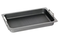 GN-Bratplatte GN 1/1 Grillboden  mit Griffen 7,00 l / 530 x 330 x 55 mm