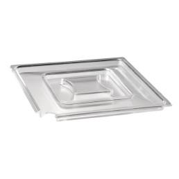 Deckel quadratisch 190 x 190 mm mit Löffelaussparung transparent