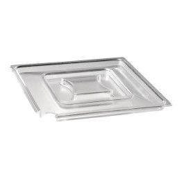 Deckel quadratisch 250 x 250 mm mit Löffelaussparung transparent