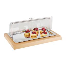 GN-Kühl-Tablett GN 1/1 4-tlg.: Holzbox + Tablett GN 1/1 + 2 Kühlakkus