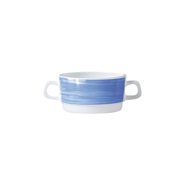 Brush Blue, Restaurant Suppentasse mit 2 Henkeln stapelbar ø 96 mm / 0,32 l blau