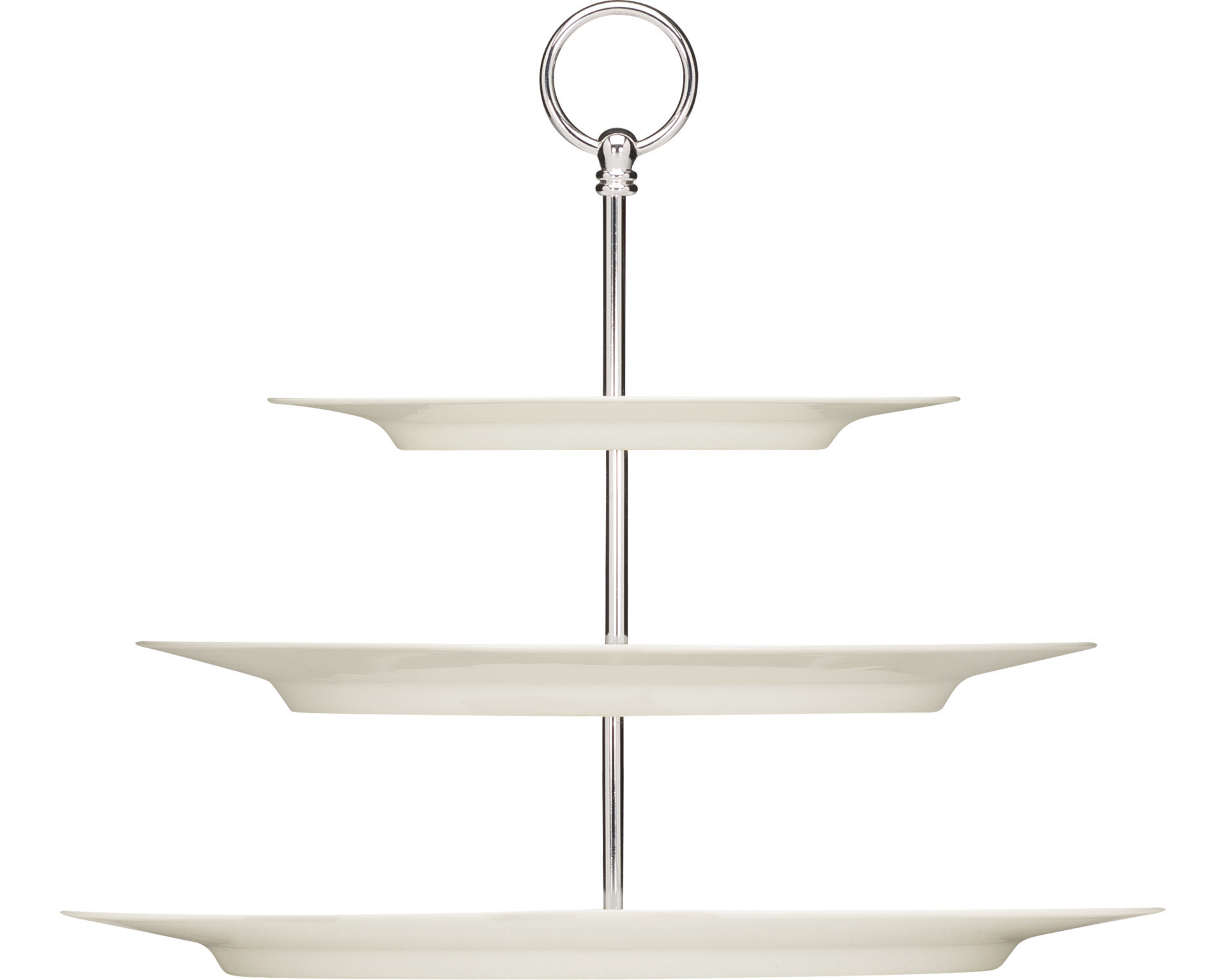 Purity, Etagere + Platte oval mit Fahne 3-fach 378 x 277 x 324 mm