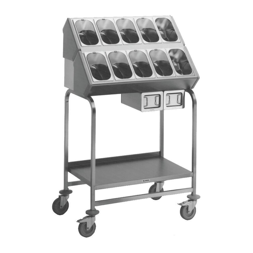 Besteck- und Tablettwagen / 10 Besteckbehälter / 2 CNS-Serviettenspender