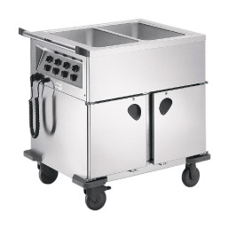 Speisenausgabewagen 2 x GN 1/1 / mit Temperaturregler / 2 Schrankräume