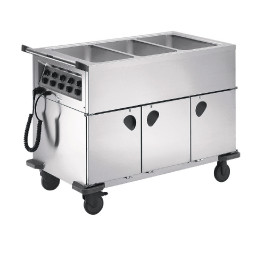 Speisenausgabewagen 3 x GN 1/1 / mit Temperaturregler / 3 Schrankräume