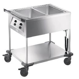 Speisenausgabewagen 2 x GN 1/1 / mit Temperaturregler / beheizt