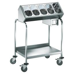 Besteck- und Tablettwagen / 5 Besteckbehälter / 1 CNS-Serviettenspender
