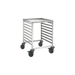 Regalwagen mit Arbeitsplatte 8 x GN 2/1 oder 16 x GN 1/1 / mit Kunststoffrollen
