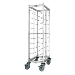 Tablett-Abräumwagen 1-teilig / für 10 EN-Tabletts / mit Kunststoffrollen
