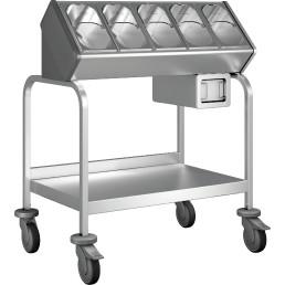 Besteck- und Tablettwagen / mit Serviettenspender / mit Kunststoff Rollen