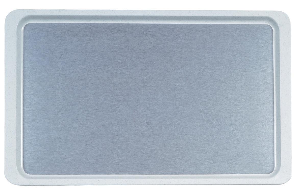 GN-Tablett Polyester Deko glatt GN 1/1 530 x 325 mm Schwarzkiesel auf lichtgrau