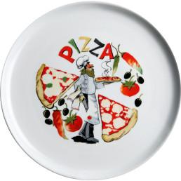 Pizzateller weiß mit Dekor