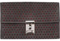Kellnerbörse mit Motiv grau, Motiv Dreieck & Punkt, Hintergrund rot