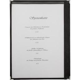 Amerikanische Speisenkarte A4 Kunstleder 2 Fenster schwarz, Ecken silber