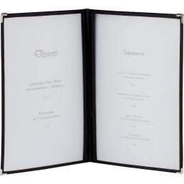 Amerikanische Speisenkarte A5 Kunstleder 4 Fenster schwarz, Ecken silber
