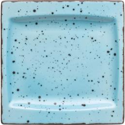"Platte flach eckig ""Granja"" aqua 18 x 18 cm"