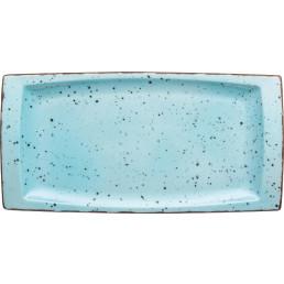 "Platte flach eckig ""Granja"" aqua 18 x 36 cm"