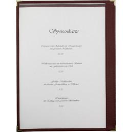 Amerikanische Speisenkarte A4 Kunstleder 2 Fenster bordeaux, Ecken gold