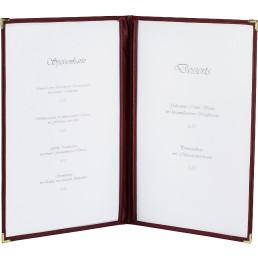 Amerikanische Speisenkarte A4 Kunstleder 4 Fenster bordeaux, Ecken gold