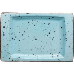 "Platte flach eckig ""Granja"" aqua 18 x 12 cm"