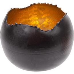 Teelichthalter schwarz/gold, rund Ø 9cm