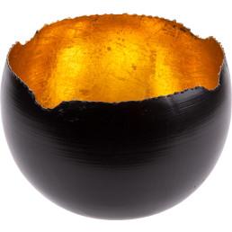 Teelichthalter schwarz/gold, rund Ø 18cm