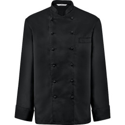 Kochjacke Herren langarm mit Brustleistentasche schwarz Größe L