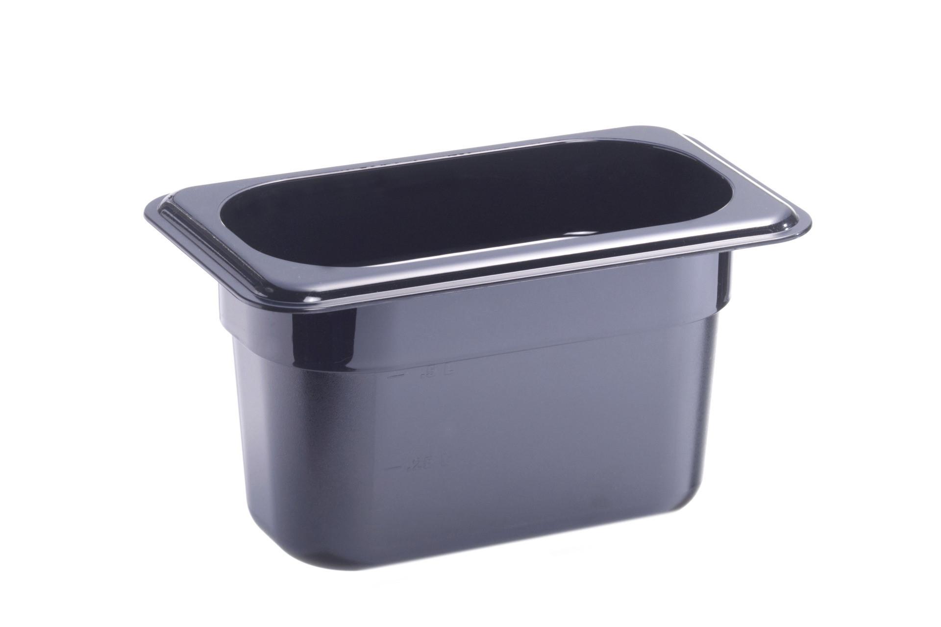 GN-Behälter, GN 1/9, 176 x 108 x 100 mm, Polycarbonat, schwarz
