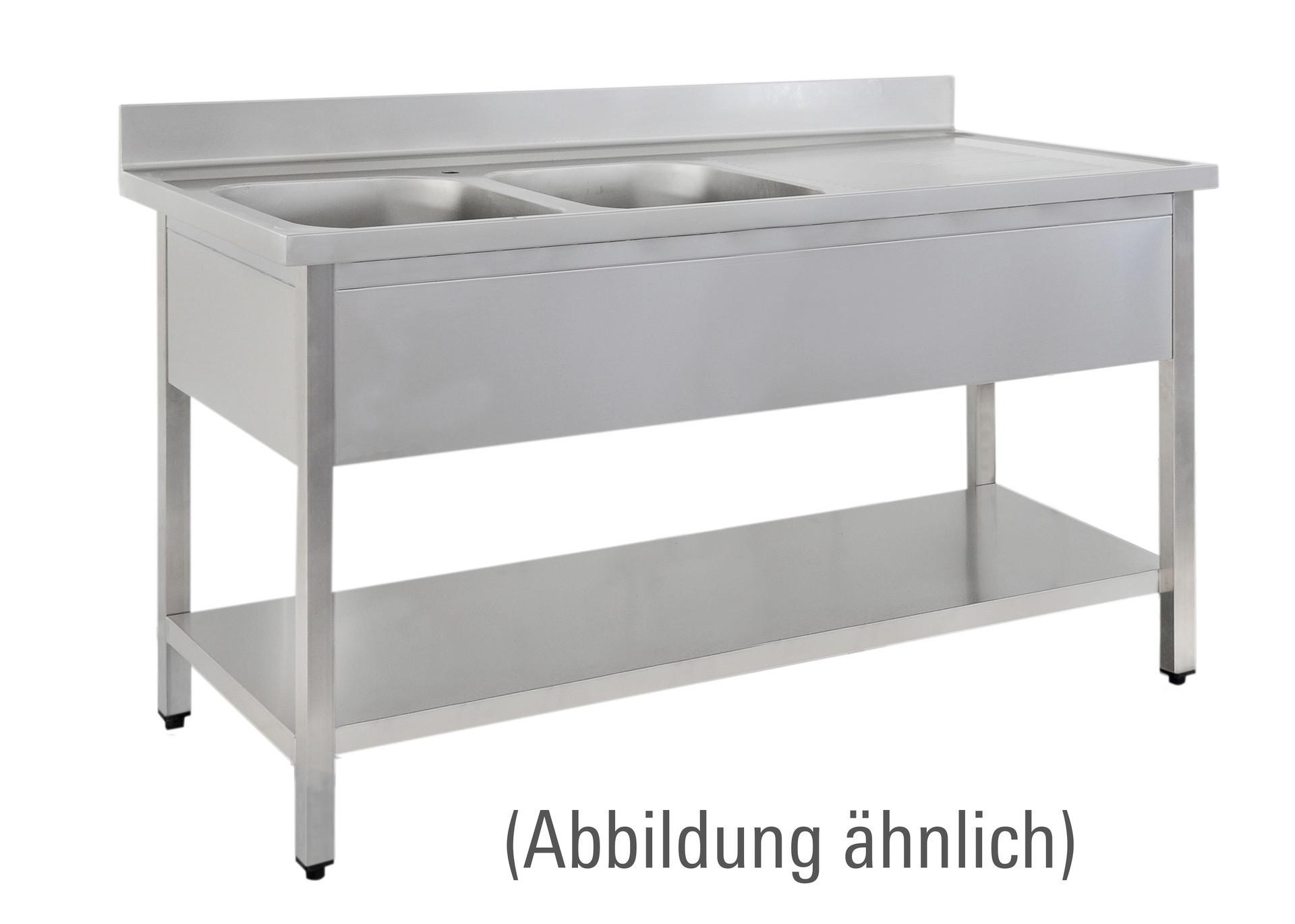 sp ltisch mit 100 mm aufkantung mit ablageboden 2 becken links tischer gastro. Black Bedroom Furniture Sets. Home Design Ideas