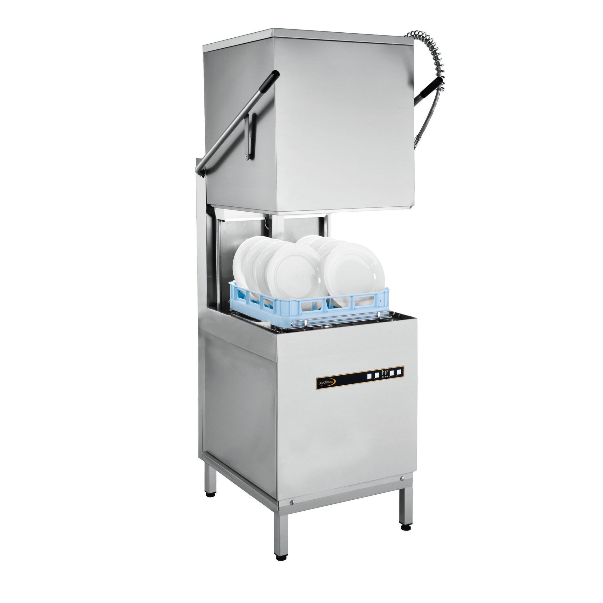 Hauben-Spülmaschine mit Reinigerdosierer Druckpumpe, Ablaufpumpe und Enthärter