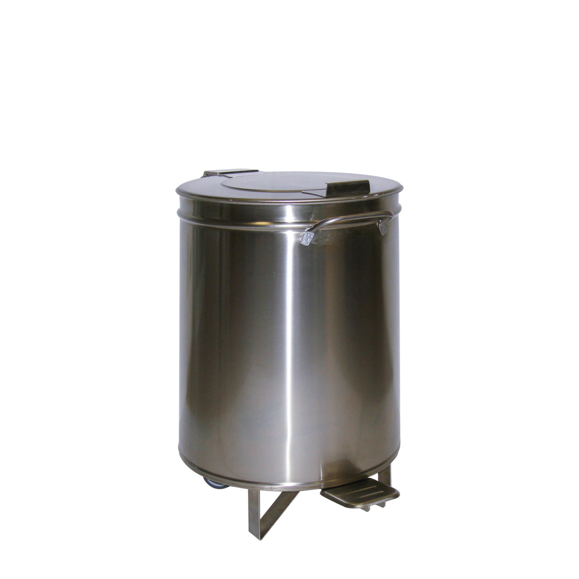 Abfalleimer 50 l ø 380 mm mit Fußpedal und Hub-Deckel 380 x 380 x 605 mm