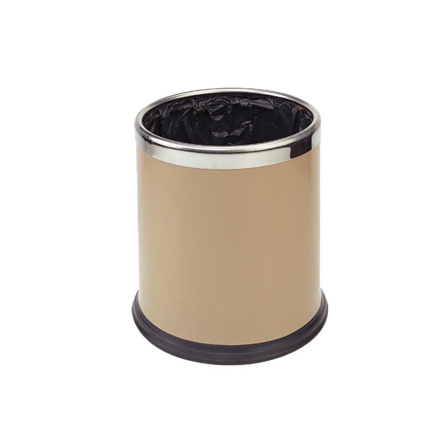 Abfallbehälter, 10,0 l, rund, doppelwandig, Metall beige