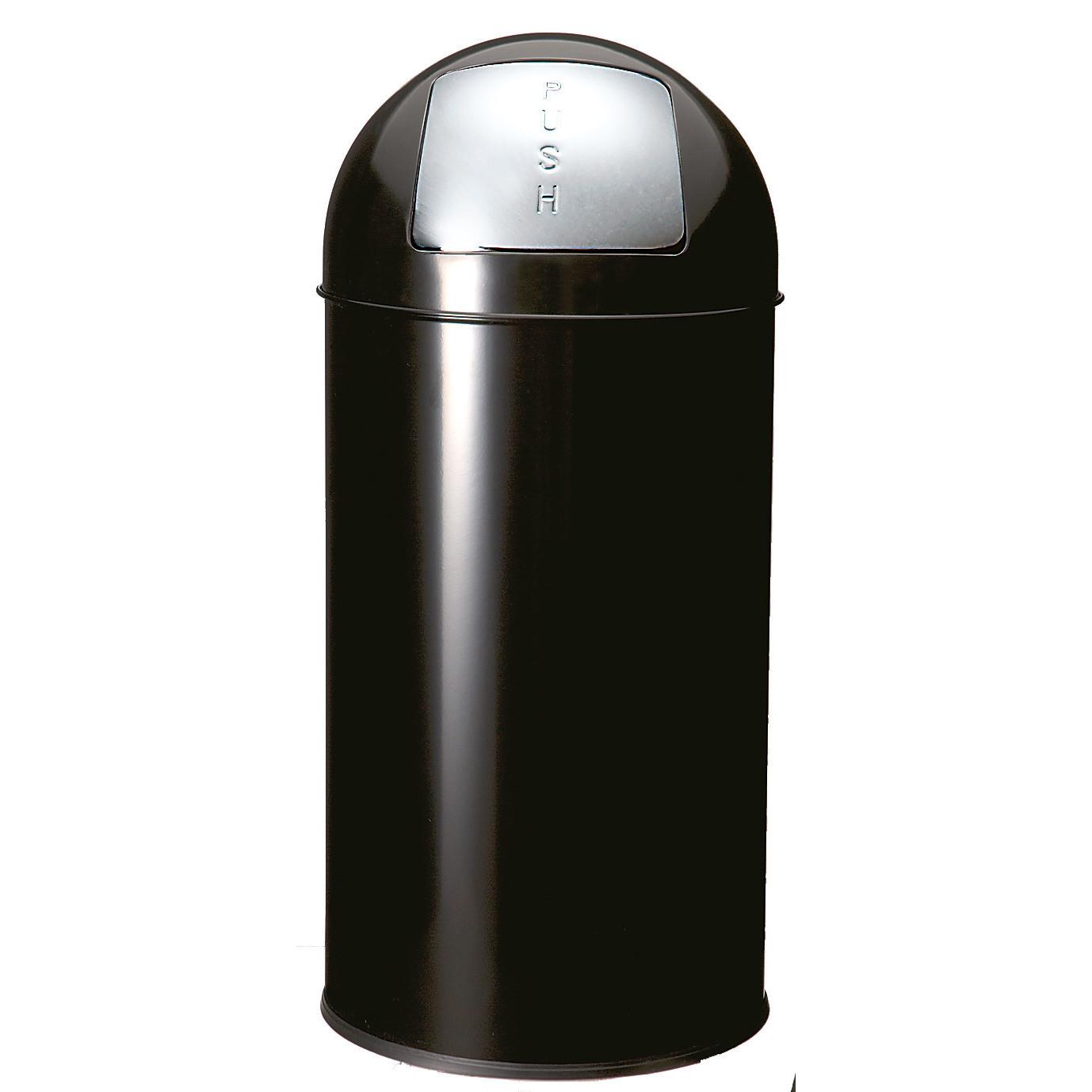 Abfallbehälter, mit Push-Deckel, 40,0 l, rund, Metall schwarz