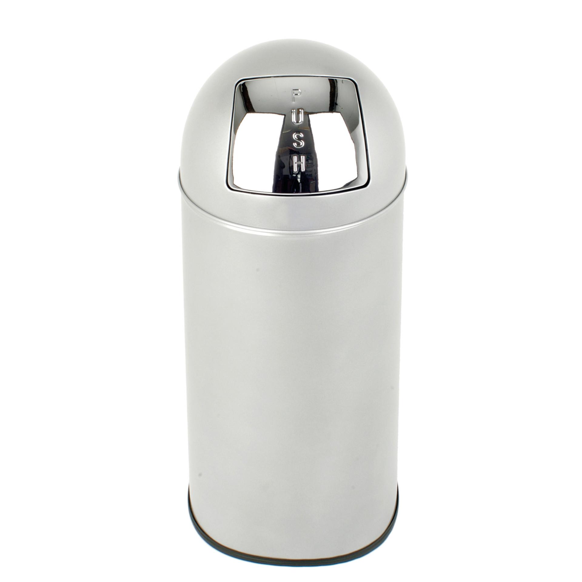Abfallbehälter, mit Push-Deckel, 40,0 l, rund, Edelstahl matt