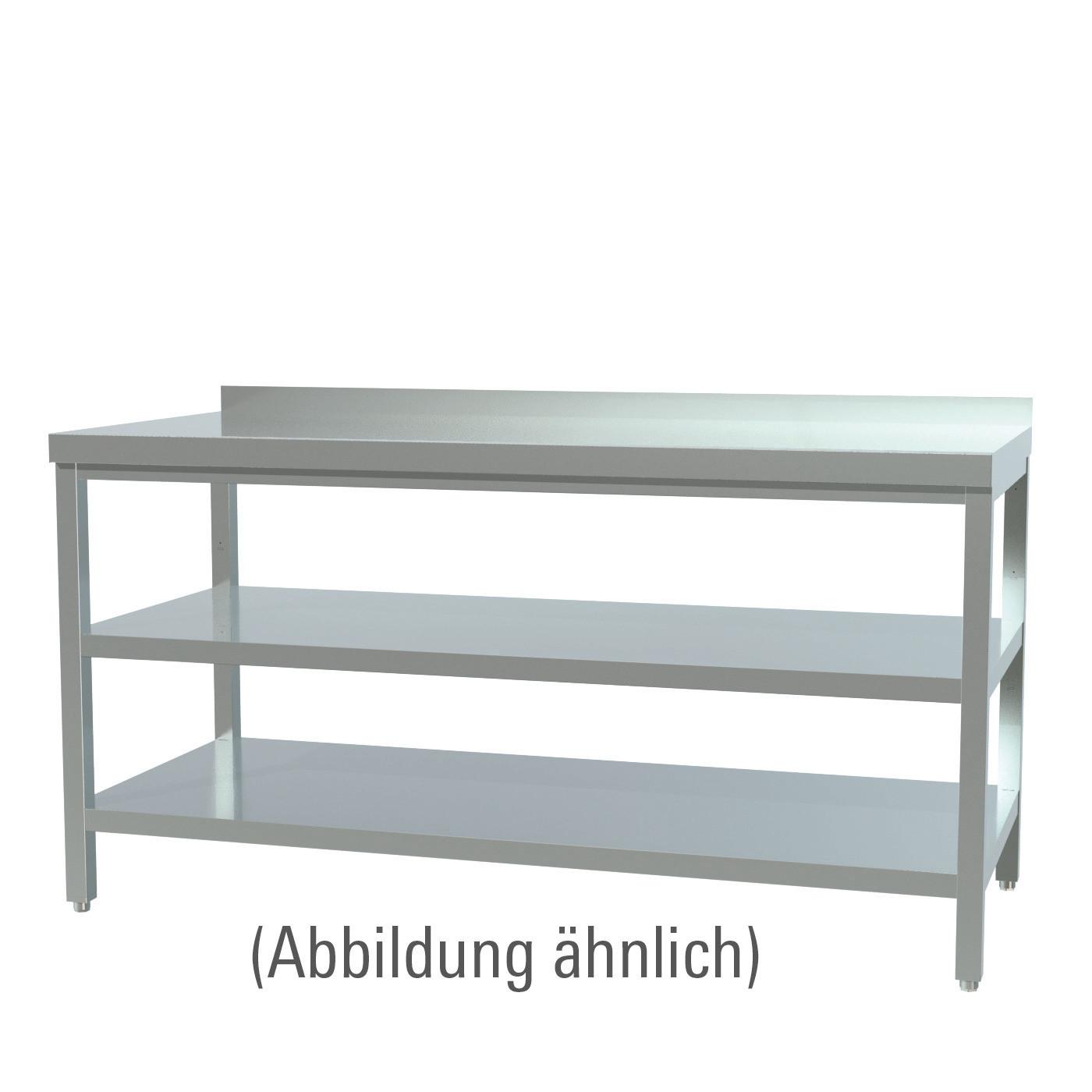 Arbeitstisch verschweißt mit 2 Böden mit 50 mm Aufkantung 1400 x 600 x 850 mm