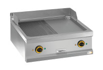Elektro-Grillplatte 2 Heizzonen 1/2 gerillt 1/2 glatt 700 x 700 x 250 mm