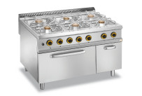 Gas-Herd 6 Brenner Gas-Backofen GN 2/1 Neutralfach 1200 x 900 x 850 mm