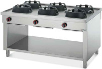 Gas-Wokherd 6 Brenner / 72 kW / beidseitige Bedienung