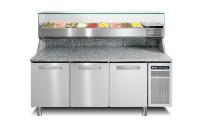 Pizzatisch mit Kühlaufsatzvitrine 9 x GN 1/3 3 Türen 2005 x 800 x 1469 mm