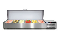 Kühlaufsatzvitrine mit Edelstahldeckel 6 x GN 1/3 1300 x 395 x 260 mm