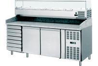 Pizzatisch mit Kühlaufsatzvitrine 9 x GN 1/3 2 Türen 7 Schubladen
