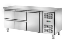 Kühltisch 417 l GN 1/1 ohne Aufkantung 1 Tür 4 Schubladen