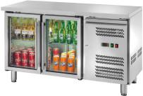 Kühltisch 282 l GN 1/1 ohne Aufkantung, 2 Glastüren