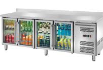 Kühltisch 553 l GN 1/1 mit 100 mm Aufkantung, 4 Glastüren