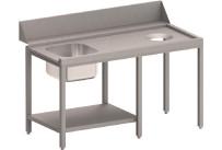 Zulauftisch rechts mit Becken, Ablagebord und Abwurfloch, 1400 mm