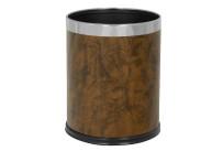 Abfallbehälter, 10,0 l, rund, einwandig, Lederoptik braun