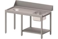 Zulauftisch links mit Becken, Ablagebord und Abwurfloch, 2000 mm