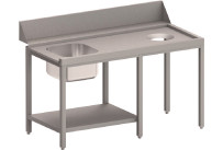 Zulauftisch rechts mit Becken, Ablagebord und Abwurfloch, 1500 mm