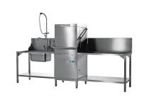Hauben-Spülmaschine mit Enthärter, Reinigerdosierer und Klarspüldosierer