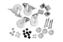 Rädersatz für Arbeitstische, 4 Stück, ø 80 mm, 2 mit Bremse, 2 ohne Bremse